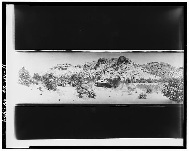 11.  Photocopy of negative (original in possession of WACC), Armstrong(?) photographer, c. 1923 CIRKUT PHOTOGRAPH OF RANCH HOUSE AND VICINITY LOOKING NORTH - Faraway Ranch, Willcox, Cochise County, AZ