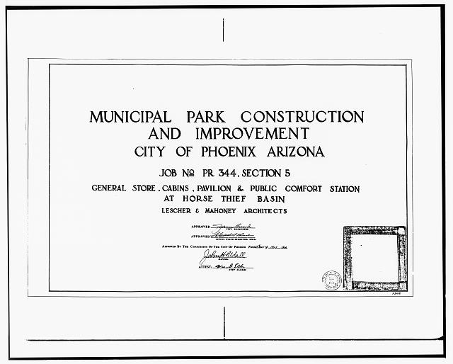 12.  Photocopy of drawing (Original drawing by Lescher and Mahoney, Architects, microfilmed copies located at City of Phoenix, Engineering Department, Central Files). MUNICIPAL PARK CONSTRUCTION AND IMPROVEMENT, MAY 27, 1936 - Horsethief Basin Resort, 7 miles Southeast of Crown King, Crown King, Yavapai County, AZ