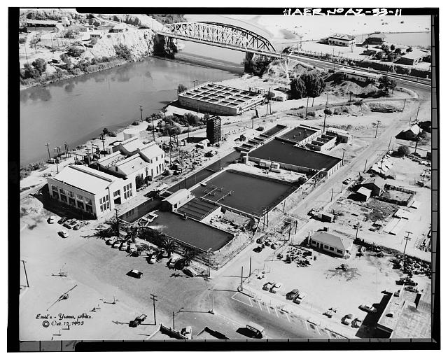 11.  Photocopy of photograph (original print located in the private collection of Emil Eger, photographer, Yuma, Arizona) Photographer: Emil Eger, October 15, 1953. AERIAL VIEW LOOKING NORTHEAST. - Yuma Main Street Water Treatment Plant, Jones Street at foot of Main Street, Yuma, Yuma County, AZ
