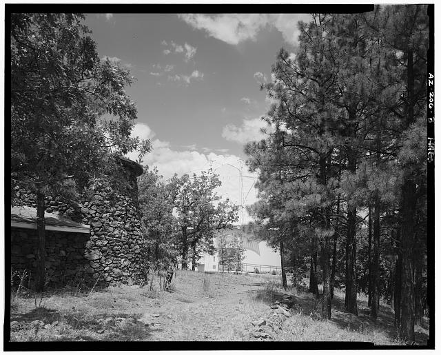3.  WATER TANK ON LEFT, CLARK DOME AT CENTER REAR, LOOKING NORTHNORTHWEST - Lowell Observatory, 1400 West Mars Hill Road, Flagstaff, Coconino County, AZ