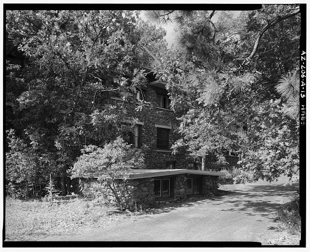 13.  NORTH ELEVATION CENTER VIEWED FROM SAME CAMERA LOCATION AS A-12, LOOKING SOUTHWEST - Lowell Observatory, Slipher Building, 1400 West Mars Road, Flagstaff, Coconino County, AZ