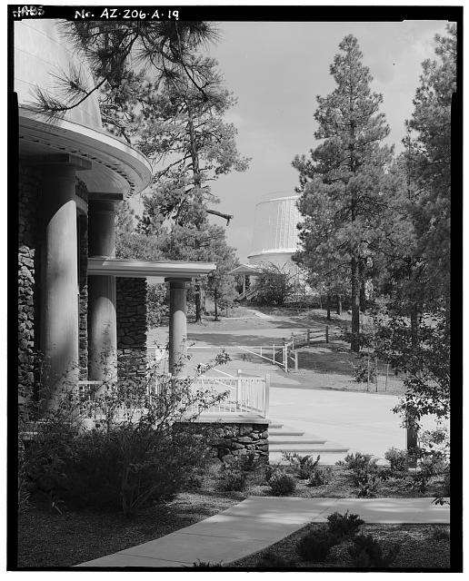 19.  DETAIL VIEW OF ROTUNDA TO LEFT WITH CLARK DOME IN BACKGROUND, LOOKING EAST - Lowell Observatory, Slipher Building, 1400 West Mars Road, Flagstaff, Coconino County, AZ