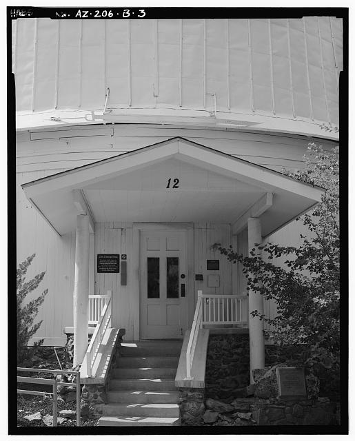 3.  FRONT ELEVATION DETAIL, LOOKING SOUTH - Lowell Observatory, Clark Dome, 1400 West Mars Road, Flagstaff, Coconino County, AZ
