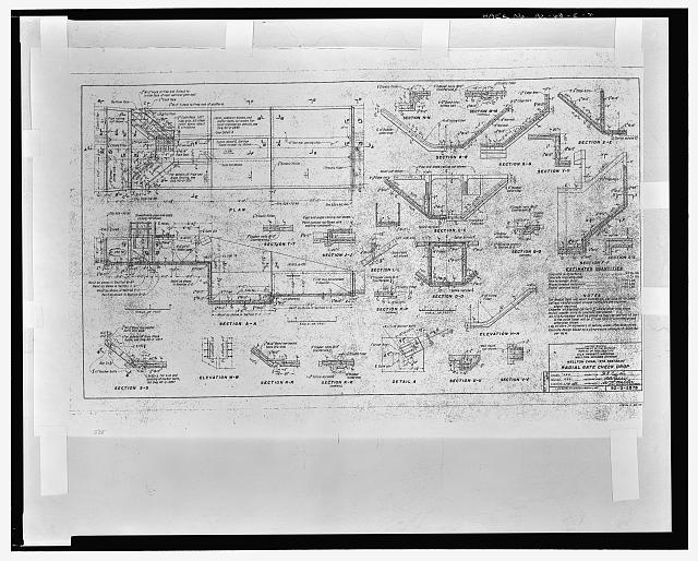 RADIAL GATE CHECK DROP. WELLTON CANAL - STA. 525+30.00. United States Department of the Interior, Bureau of Reclamation; Gila Project, Arizona, Wellton-Mohawk Division. Drawing No. 50-D-2878, dated March 1, 1951, Denver, Colorado - Wellton-Mohawk Irrigation System, Radial Gate Check with Drop, Wellton Canal 9.9, West of Avenue 34 East & north of County Ninth Street, Wellton, Yuma County, AZ