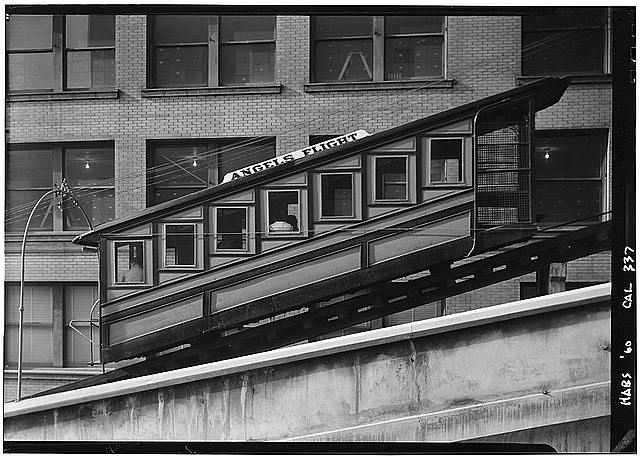 "4.   October 2, 1960 DETAIL OF CAR - ""Angels Flight"", Third & Hill Streets, Los Angeles, Los Angeles County, CA"