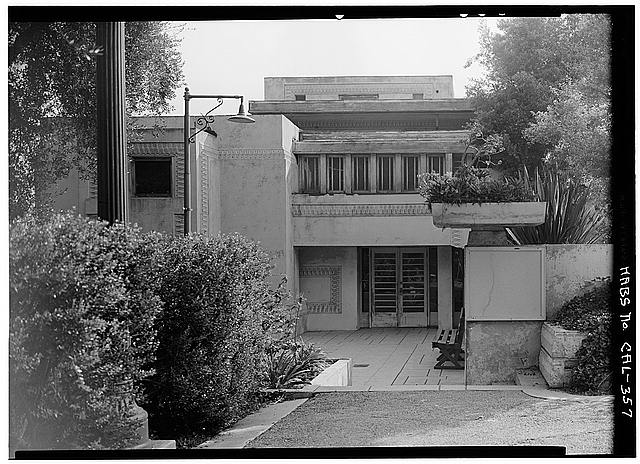 6.  Historic American Buildings Survey Marvin Rand, Photographer September 1965 WEST ELEVATION - ENTRANCE - Barnsdall Park, Residence 'A', 4800 Hollywood Boulevard, Los Angeles, Los Angeles County, CA