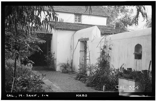 4.  Historic American Buildings Survey Photographed by Henry F. Withey December 1936 WEST REAR FROM GARDEN SHOWING SOUTH WALL OF PATIO. - Andres Pico House, 10940 Sepulveda Boulevard, San Fernando, Los Angeles County, CA