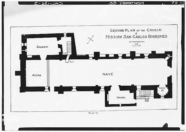 65.  Historic American Buildings Survey Plan Prepared by Frances Rand Smith GROUND PLAN OF THE CHURCH - Mission San Carlos Borromeo, Rio Road & Lausen Drive, Carmel-by-the-Sea, Monterey County, CA