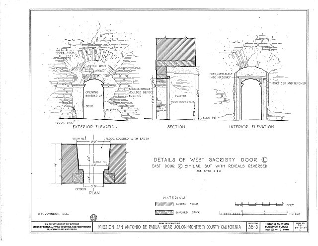 HABS CAL,27-JOLO.V,1- (sheet 10 of 17) - Mission San Antonio de Padua, Hunter Liggett Military Reservation, Jolon, Monterey County, CA