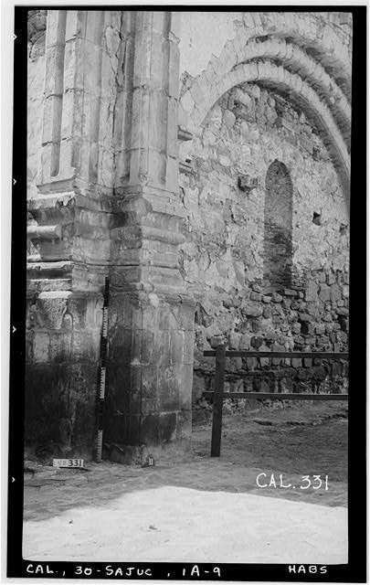9.  Historic American Buildings Survey Photographed by Henry F. Withey June 1936 STONE CHURCH, PILASTERS ON EAST SIDE OF NAVE - Mission San Juan Capistrano, Stone Church, Olive Street, between U.S. Highway 101 & Main Street, San Juan Capistrano, Orange County, CA