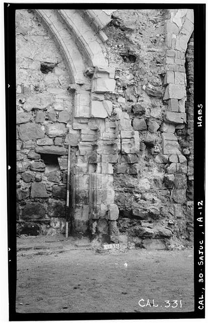 12.  Historic American Buildings Survey Photographed by Henry F. Withey June 1936 STONE CHURCH, EAST WALL OF NAVE. - Mission San Juan Capistrano, Stone Church, Olive Street, between U.S. Highway 101 & Main Street, San Juan Capistrano, Orange County, CA