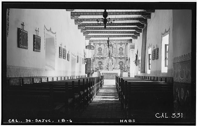 6.  Historic American Buildings Survey Photographed by Henry F. Withey June 1936 INTERIOR OF SERRA'S CHURCH - Mission San Juan Capistrano, Serra's Church, Olive Street, between U.S. Highway 101 & Main Street, San Juan Capistrano, Orange County, CA