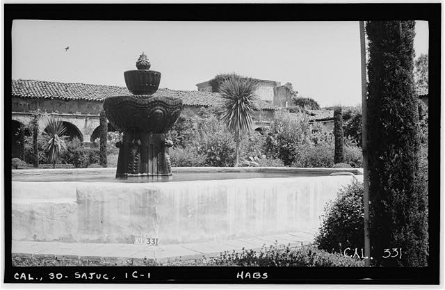 1.  Historic American Buildings Survey Photographed by Henry F. Withey, June 1936 FOUNTAIN IN A COURT, AND WEST WALL OF SERRA'S CHURCH - Mission San Juan Capistrano, Fountain, Olive Street, between U.S. Highway 101 & Main Street, San Juan Capistrano, Orange County, CA