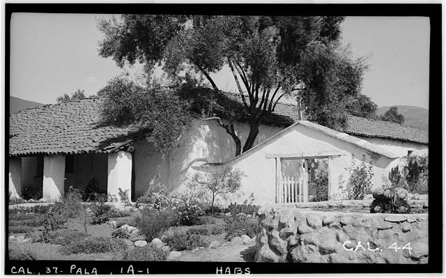 4.  Historic American Buildings Survey Photographed by Henry F. Withey October 1936 WEST ELEVATION OF CEMETERY GATE AND CHAPEL - Asistencia of San Antonio de Pala, Mission Road, Pala, San Diego County, CA