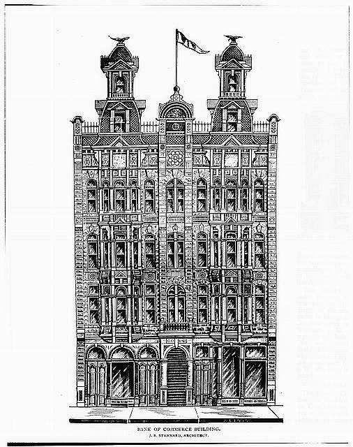 3.  Historic American Buildings Survey WOOD ENGRAVING OF WEST (FRONT) ELEVATION From Golden Era Magazine, September 1889, page 293 - Bank of Commerce Building, 835 Fifth Avenue, San Diego, San Diego County, CA