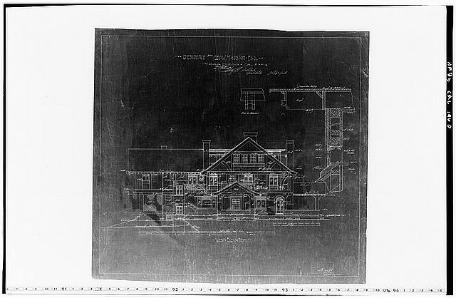 10.  Historic American Buildings Survey Mr. Walker, Draftsman of Hebbard and Gill, Architects September 21, 1904 (Revised October 28, 1904) BLUEPRINT OF ORIGINAL DRAWING OF WEST ELEVATION From the Collection of the San Diego Historical Society - George W. Marston House, 3525 Seventh Avenue, San Diego, San Diego County, CA