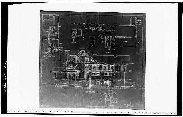 12.  Historic American Buildings Survey Mr. Walker, Draftsman of Hebbard and Gill, Architects September 23, 1904 (Revised October 28, 1904) BLUEPRINT OF ORIGINAL DRAWING OF EAST ELEVATION From the Collection of the San Diego Historical Society - George W. Marston House, 3525 Seventh Avenue, San Diego, San Diego County, CA