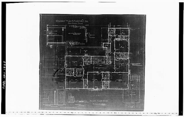 14.  Historic American Buildings Survey Mr. Hopkins, Draftsman of Hebbard and Gill, Architects October 22, 1904 BLUEPRINT OF ORIGINAL DRAWING OF SECOND FLOOR PLAN From the Collection of the San Diego Historical Society - George W. Marston House, 3525 Seventh Avenue, San Diego, San Diego County, CA