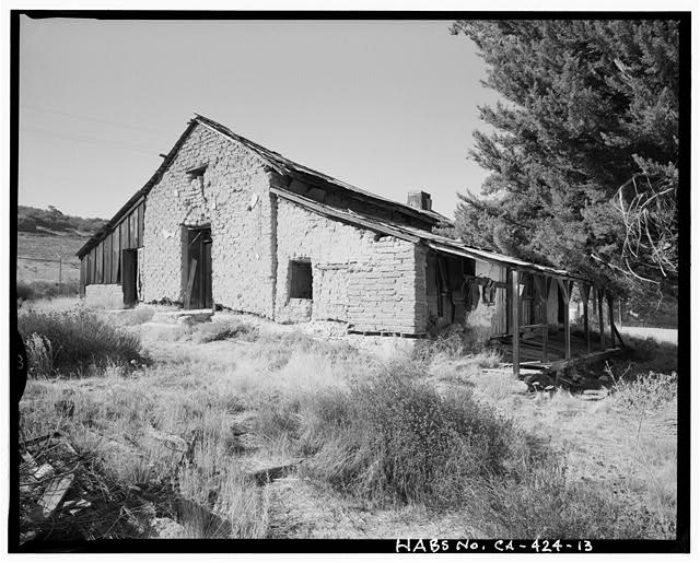East and north elevations.  Camera facing southwest. - Warner Ranch, Ranch House, San Felipe Road (State Highway S2), Warner Springs, San Diego County, CA