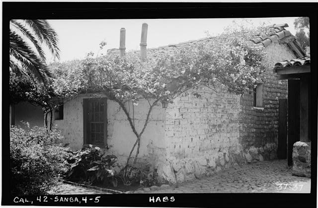 5.  Historic American Buildings Survey,Photographed by C. A. Fletcher April 20th, 1934. FRONT - DETAIL OF NORTH-WEST CORNER. - Mrs. A. L. M. Vhay House, 835 Leguna Street, Santa Barbara, Santa Barbara County, CA