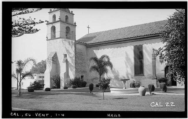 4.  Historic American Buildings Survey Photographed by Henry F. Withey September 1936 SOUTH PORTION OF EAST FACADE. - Mission San Buenaventura, East Main Street & South Figueroa Street, Ventura, Ventura County, CA