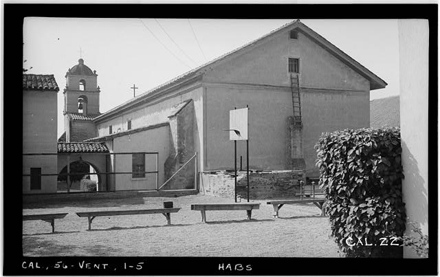 5.  Historic American Buildings Survey Photographed by Henry F. Withey, September, 1936 NORTH AND EAST FACADE. - Mission San Buenaventura, East Main Street & South Figueroa Street, Ventura, Ventura County, CA