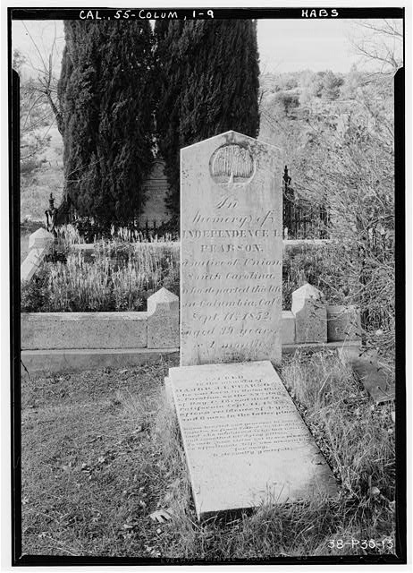 9.  Historic American Buildings Survey Roger Sturtevant, Photographer Jan. 21, 1934 INDEPENDENCE L. PEARSON MOUNTAIN VIEW CEMETERY, COLUMBIA - Grave Stones, Mountain View Cemetery, Bigler Street, Columbia, Tuolumne County, CA