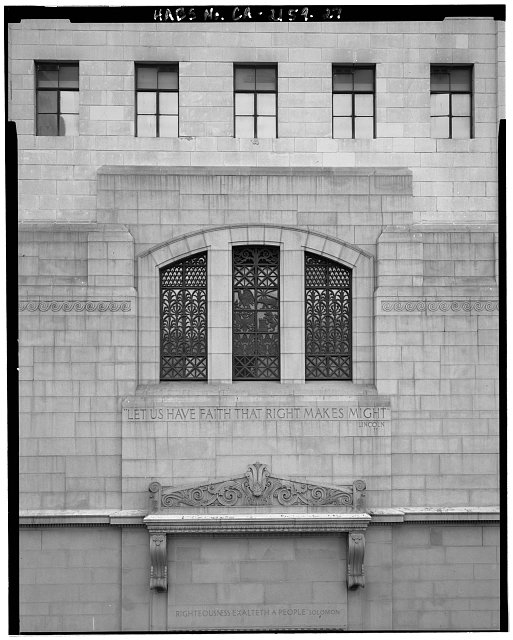 Monica Griesbach, Photographer August 1997. DETAIL OF LOS ANGELES CITY HALL WEST ENTRANCE COURTYARD SHOWING WINDOWS AND PEDIMENT FROM 5TH FLOOR ROOF, FACING EAST. - Los Angeles City Hall, 200 North Spring Street, Los Angeles, Los Angeles County, CA