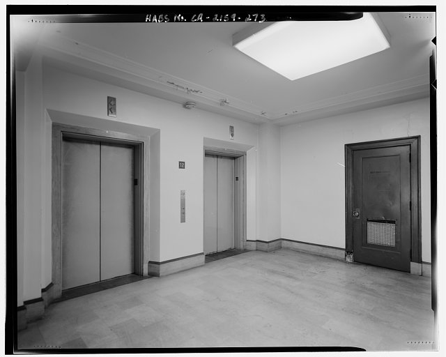 Bruce D. Judd, FAIA, Photographer August 1997. VIEW OF LOS ANGELES CITY HALL TWELFTH FLOOR ELEVATOR LOBBY, FACING NORTHEAST - Los Angeles City Hall, 200 North Spring Street, Los Angeles, Los Angeles County, CA