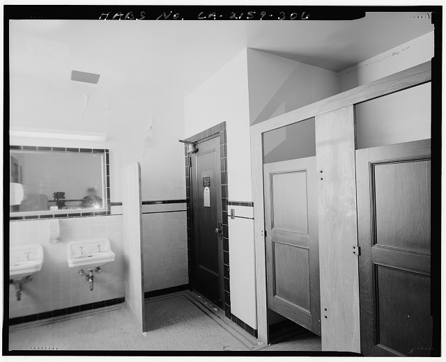 John Ash, AIA, Photographer August 1997. VIEW OF LOS ANGELES CITY HALL FIFTEENTH FLOOR MEN'S ROOM OFF ELEVATOR LOBBY, FACING SOUTHWEST - Los Angeles City Hall, 200 North Spring Street, Los Angeles, Los Angeles County, CA