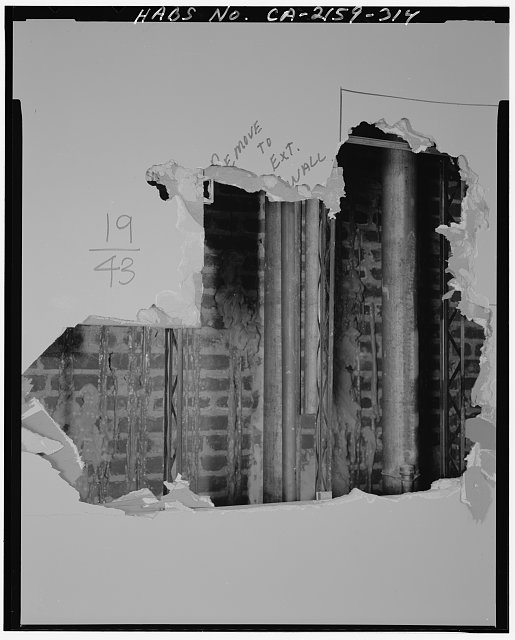 Monica Griesbach, Photographer August 1997. DETAIL OF LOS ANGELES CITY HALL NINETEENTH FLOOR MAIN OFFICE AREA SHOWING DEMOLITION OF WEST WALL, FACING WEST - Los Angeles City Hall, 200 North Spring Street, Los Angeles, Los Angeles County, CA