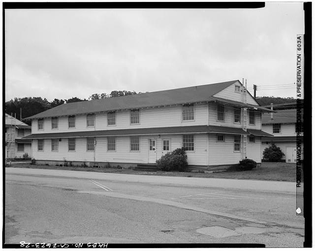 Building No. 909, north (long) and west (short) sides - Presidio of San Francisco, Enlisted Men's Barracks Type, West end of Crissy Field, between Pearce & Maudlin Streets, San Francisco, San Francisco County, CA