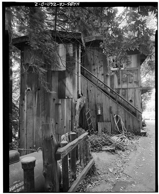 2.  View southwest of northeast end. Scale visible at bottom of  stairs, against corner of building. - Deetjen's Big Sur Inn, Champagne Building, East Side of State Highway 1, Big Sur, Monterey County, CA