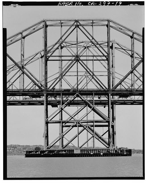 19.  View of central piers of both bridges over the Carquinez strait. The 1927 bridge is in front of the 1959 bridge.  - Carquinez Bridge, Spanning Carquinez Strait at Interstate 80, Vallejo, Solano County, CA