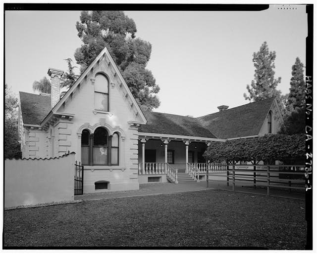 Exterior, South side, facing northeast - Workman House, Workman & Temple Family Homestead Museum, 15415 East Don Julian Road, Industry, Los Angeles County, CA