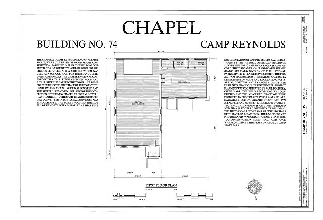 HABS CA-1841-F (sheet 1 of 3) - Camp Reynolds, Chapel, Angel Island State Park, Angel Island, Marin County, CA