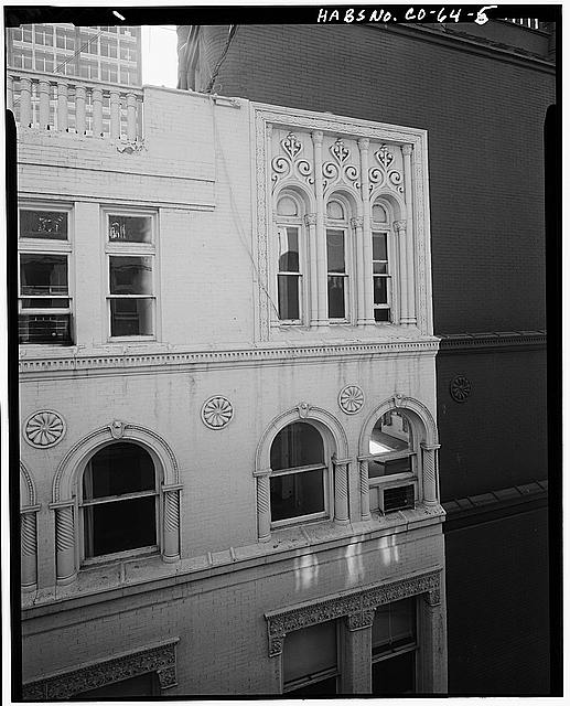 5.  EXTERIOR, UPPER LEVEL WINDOW DETAILS LOOKING FORM 8TH FLOOR WINDOW ACROSS LIGHT COURT - Hotel Metropole & Broadway Theater, 1756 Broadway Street, Denver, Denver County, CO