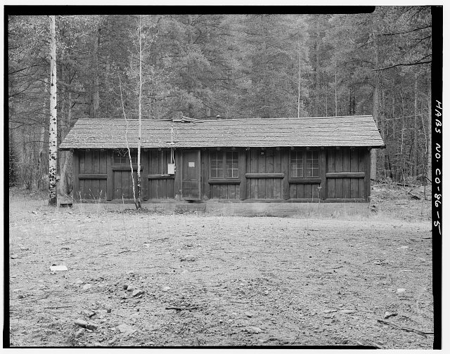 Timber Creek bunkhouse and mess hall, Rocky Mountain National Park.  Viewing southeast. - Timber Creek Bunkhouse & Mess Hall, Trail Ridge Road, Grand Lake, Grand County, CO
