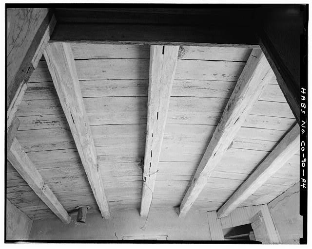4. Original residence, detail roof structure from center room - Samuel T. Brown's Sheep Ranch, Original Residence, 110 feet northwest of main residence, Model, Las Animas County, CO