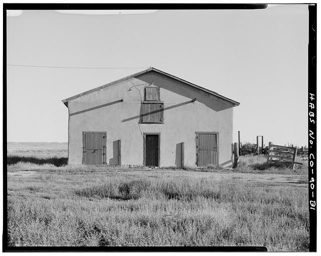 Horse barn, front, south façade, looking northwest. - Samuel T. Brown's Sheep Ranch, Horse Barn, 170 feet northeast of main residence, Model, Las Animas County, CO