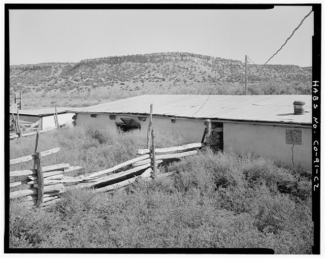 Log barn, rear and left side, looking east. - Eugene Rourke Ranch, Barn, 70 feet south of shed, Model, Las Animas County, CO