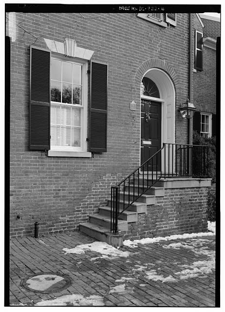 Detail view of the north end of the west elevation to show entrance - Ambassador Bruce House, 1422 Thirty-Fifth Street, Northwest, Washington, District of Columbia, DC
