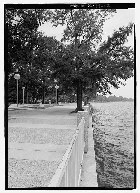CLOSE VIEW ALONG WATERFRONT TO SHOW BULKHEAD  - Southwest Washington, Urban Renewal Area, Bounded by Independence Avenue, Washington Avenue, South Capitol Street, Canal Street, P Street, Maine Avenue & Washington Channel, Fourteenth Street, D Street, & Twelfth Street, Washington, District of Columbia, DC