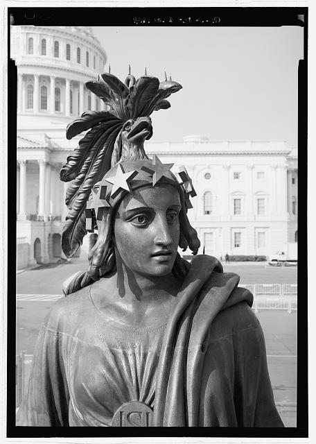 Close view looking to the head of the statue - U.S. Capitol, Statue of Freedom, Intersection of North, South, & East Capitol Streets & Capitol Mall, Washington, District of Columbia, DC