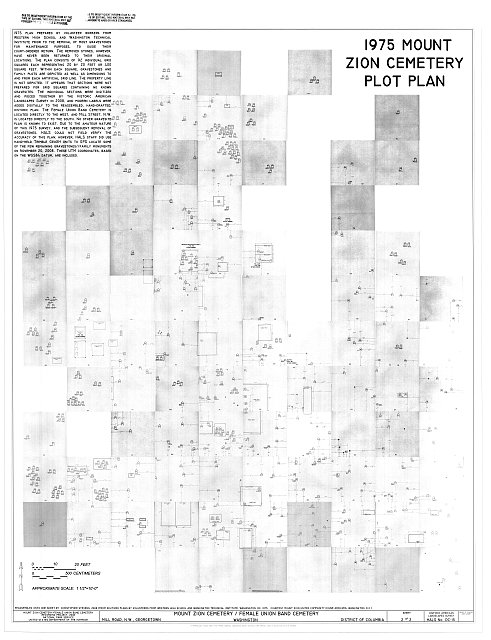 Mount Zion Cemetery, 1975 Plot Plan - Mount Zion Cemetery/ Female Union Band Cemetery, Bounded by 27th Street right-of-way N.W. (formerly Lyons Mill Road), Q Street N.W., & Mill Road N.W., Washington, District of Columbia, DC