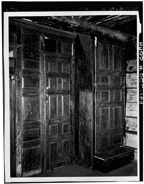 10.  Historic American Buildings Survey HABS Photocopy made from photograph from the Smithsonian Institution, Washington, D.C. PORTION OF PANELED WALL IN DELAWARE LOG HOUSE (PANELING ORIGINALLY IN FIRST FLOOR OF ROBINSON-MURRAY HOUSE) C. 1958 - Robinson-Murray House, Limestone Road, Milltown, New Castle County, DE
