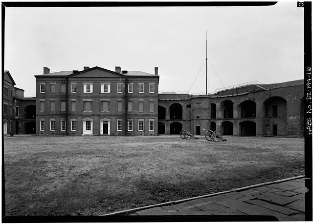 16.  PARADE GROUND WITH OFFICERS' QUARTERS, CASEMATES, AND STAIRTOWER, LOOKING NORTHEAST - Fort Delaware, Pea Patch Island, Delaware City, New Castle County, DE