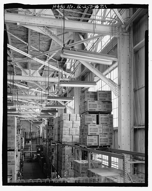 INTERIOR OF NORTH WALL, LOOKING WEST, TAKEN FROM MEZZANINE - U.S. Naval Air Station, Aircraft Repair Shop, Pensacola, Escambia County, FL