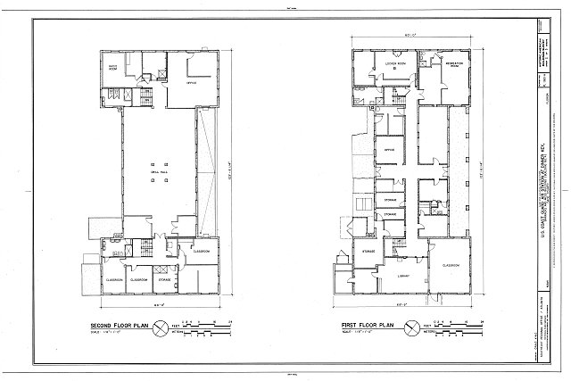 First and Second Floor Plans - U.S. Coast Guard Air Station Dinner Key, Barracks & Mess Building, 2610 Tigertail Avenue, Miami, Miami-Dade County, FL