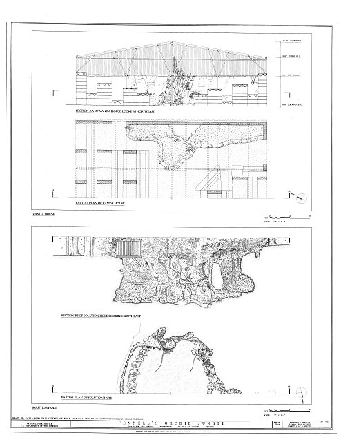 Plan & Section of Vanda House and Plan & Section of Solution Hole - Fennell's Orchid Jungle, 26715 Southwest 157 Avenue, Homestead, Miami-Dade County, FL